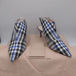 Leather-trimmed checked jacquard slingback pumps